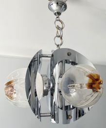 LUSTRE chrome 3 globes murano MAZZEGA