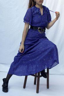 Magnifique maxi robe bleu nuit 70's taille 38