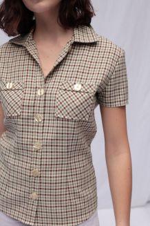 Chemisette cintrée vintage lin à fins carreaux taille 36