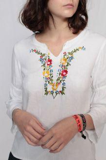 Blouse coton bohème 70's broderie fleurie taille 36