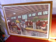 4 Affiches scolaires Rossignol et Cadre d'origine en bois