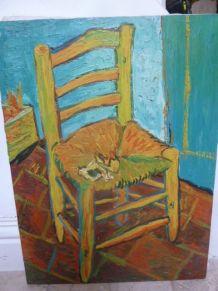 Huile sur toile, copie chaise de Vincent van Gogh 30 x40 cm