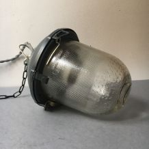 ANCIENNE LAMPE INDUSTRIELLE  SUSPENSION USINE VINTAGE