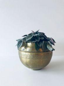 Cache pot vintage en laiton doré