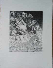 Gravure signée G. Giannini - Alice au pays des merveillesl