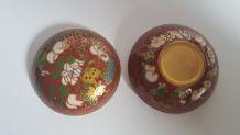 boite en cloisonné  ronde  décor floral