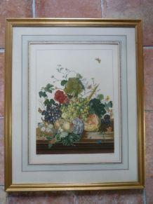 """Lithographie """"bouquet de fruits"""" Antoine Chazal chez Mourlot"""