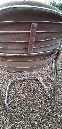 Lot de 4 chaises bascule chromées
