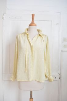 Chemise jaune pâle à pois