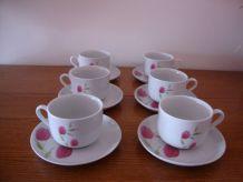 6 anciennes tasses à café en porcelaine ornées de tulipes ro