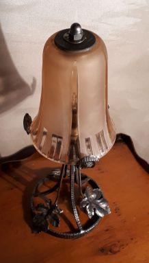 lampe fer forgee de bureau art deco verre