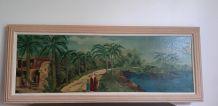 """Grand Tableau """"L'oasis animé"""" signé"""