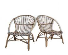 Paire de fauteuil rotin vintage