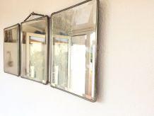 Miroir de barbier triptyque vintage