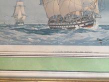 Tableau Bateau anglais Lithographie W F Mitchel