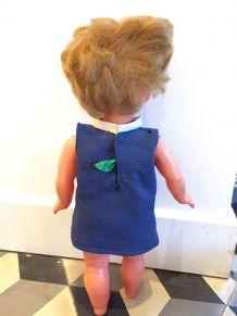 Poupée ancienne années 50-60 robe bleue 34 cm BIPGE