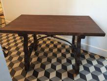 Table basse salon en bois massif ancienne armature fer fogé