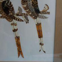 Tableau d'oiseaux en marqueterie d'ailes de papillons