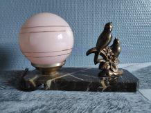 lampe veilleuse art déco animalière avec socle en marbre
