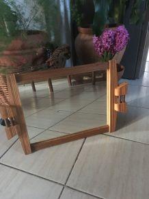 Grand plateau miroir et bois style art déco.