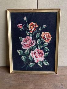 Tableau tapisserie canevas fleurs