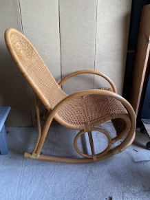 Rocking-chair chair en rotin  osier