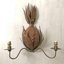 Paire d'appliques Ananas en métal vintage 50's