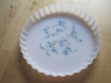 plat a tarte  Arcopla   décor Myosotis Veronica vintage