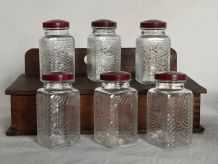 3 petits pots en verre, bouchon bakélite