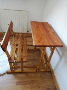 Bureau et son assise rotin/bois années 60