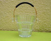 Seau à glaçons Art-déco en verre strié 1960