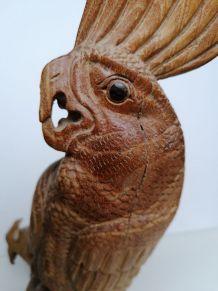 Perroquet sculpture en bois