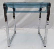 Bout de canapé vintage bleu grisé transparent