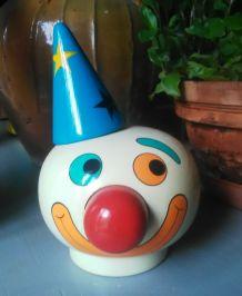 """Ancienne tirelire en bois """"clown"""" - FMF - années 60"""