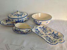 Vaisselle ancienne : série de plats, saladier, soupière ...