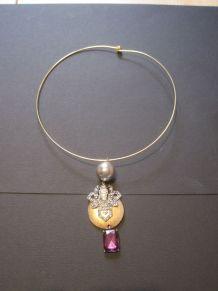 collier raz du cou femme diamètre ras du cou 14 cm  doré