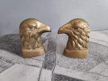 serre-livres têtes d'aigle en laiton massif des années 60