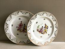 Lot de 2 assiettes porcelaine de Limoges NANKIN