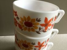 Lot de 3 tasses à café 1970 Arcopal