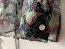 Chemisier DIAPOSITIVE voile de soie transparent motif arabes