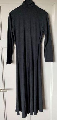 Robe longue IRENA GREGORI noire / grise anthracite