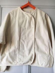 Veste LEONE velours côtelé écru Années 80 - Vintage