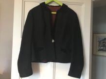 Véritable veste autrichienne vintage noire en laine
