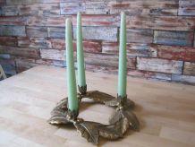 Bougeoir a 3 bougies en laiton ancien