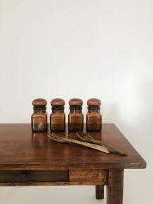 Lot de 4 flacons bocaux en verre ambré style apothicaire
