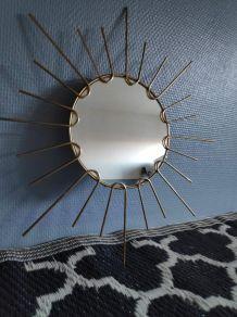 miroir soleil mural avec métal doré vintage des années 60