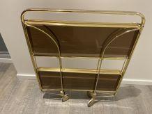 DESSERTE Métal doré et Plexi Vintage