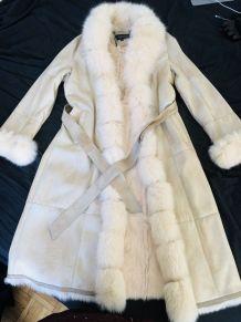 Manteau long cuir et fourrure véritable