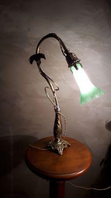 grande lampe art nouveau laiton et bronze