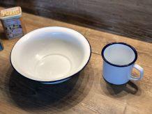 Lot Bassine et Mug émaillés - Vintage